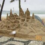 Hugh sand castle in Ipanema in front of Caesar Park hotel