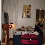 Double bed and TV area