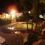 Night view of the Lauremar kids pool and resturant