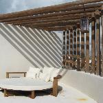 roof deck with loungey bed