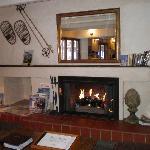 Lobby with fireplace..very cozy