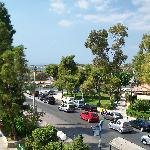 View from my balcony to the busy road.