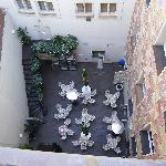 Looking down on interior courtyard from hotel room