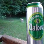 beer and goats on our balcony