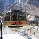 Tram car at base of mountain