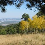 Denver skytline from meadow loop trail at Lookout Mountain Nature Center