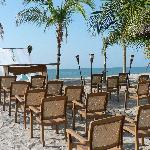 wedding set-up near beach restaurant/bar