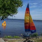 Guests enjoy the use of sailboats and other water toys