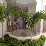 View of shower from courtyard