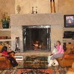 Enjoying the Woodburning fireplace in Lobby