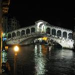View of the Rialto Bridge from the hotel Terrace after dark