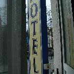 the hotel sign was right outside our window