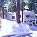 Snowy outer view of RV