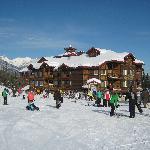 Cornerstone Lodge in the sun and snow
