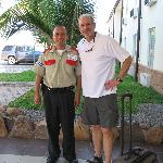 The security guard talks Gorrobo
