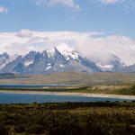 The Paine massif as seen from the road, coming from El Calafate