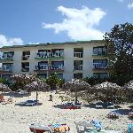 view from our beach chair of the kitchenette building
