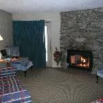 lounging area and gas fireplace