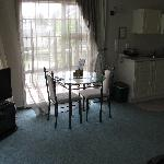 dining table and chairs and TV/DVD