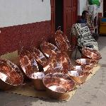 Copper tubs in front of one of the many shops that sell copper items.