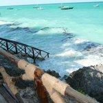 Steps to beach - high tide