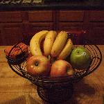 Fruit bowl, assorted beverages are available in the refrigerator