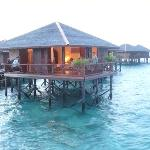 water bungalow at sunset