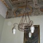 The interior contains beautiful coffered ceilings