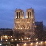 This is a view from my room of NotreDame at night.