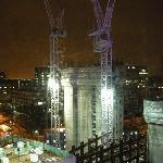 Looking towards Big Ben through construction