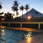 Poolside View of Mayon Volcano