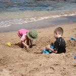 The private beach is great for kids