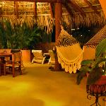 at night in the master suite, sundeck and hammock area