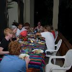 3 families at dinner on the balcony