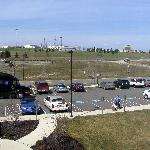 View from our room of the Akron/Canton airport (and a NASA truck!)