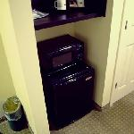 Coffee pot, microwave, and refrigerator