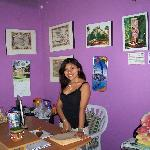Cheerful Casa Maya Mayan receptionist
