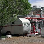Dots diner and a teardrop trailer at the edge of the park