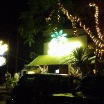 front of the bar at night