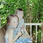 kids on the jungle train ride