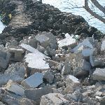 iron and building blocks garbage on docks
