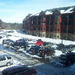 View of Glacier Canyon Lodge from the skywalk.