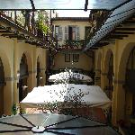 Out our window to the hotel courtyard