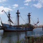 watch a replica of the Swedes' ship sail by as you lunch at Timothy's