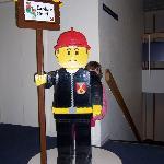 Lego Figure in hotel hallway