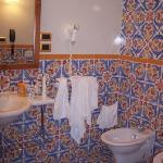 A hotel room bath