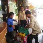 Porters helping with our luggage