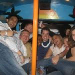 A group of locals in the back of the bus!