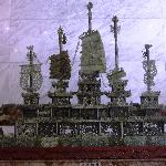 carved jade ship in reception