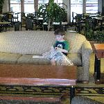 Trevor in Lobby with bubble wrap his new freind Luanne gave him